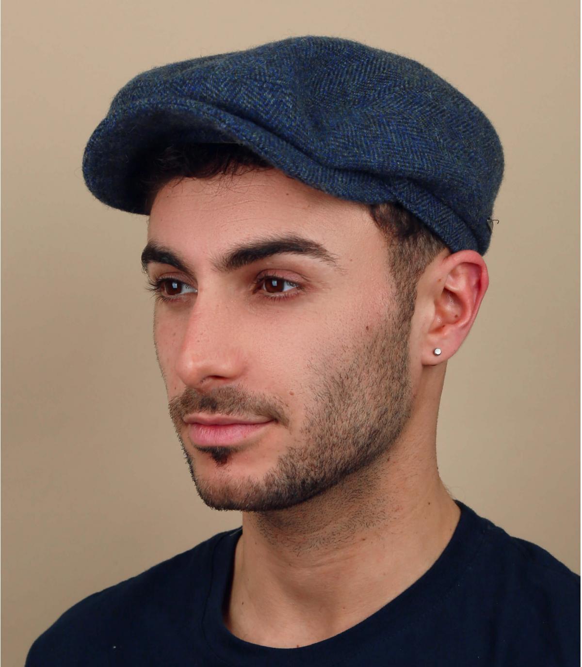 berretto di lana blu chevron