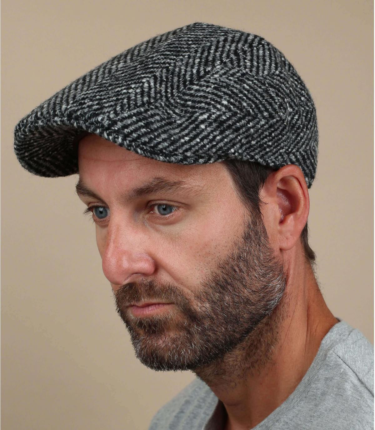 berretto di lana bianco nero