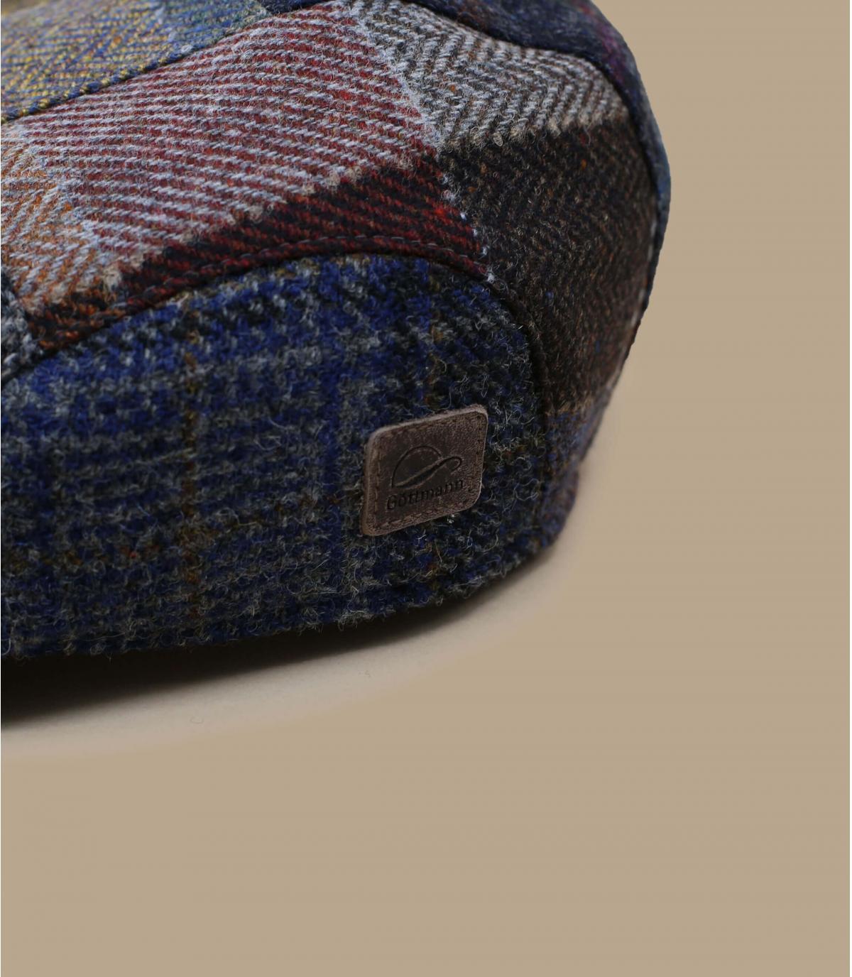 berretto patchwork di lana blu