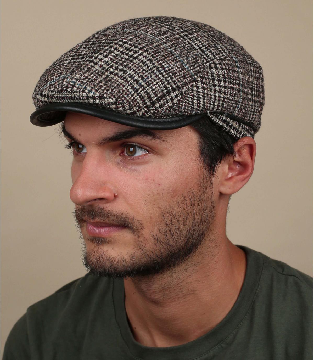 berretto di lana a quadri beige