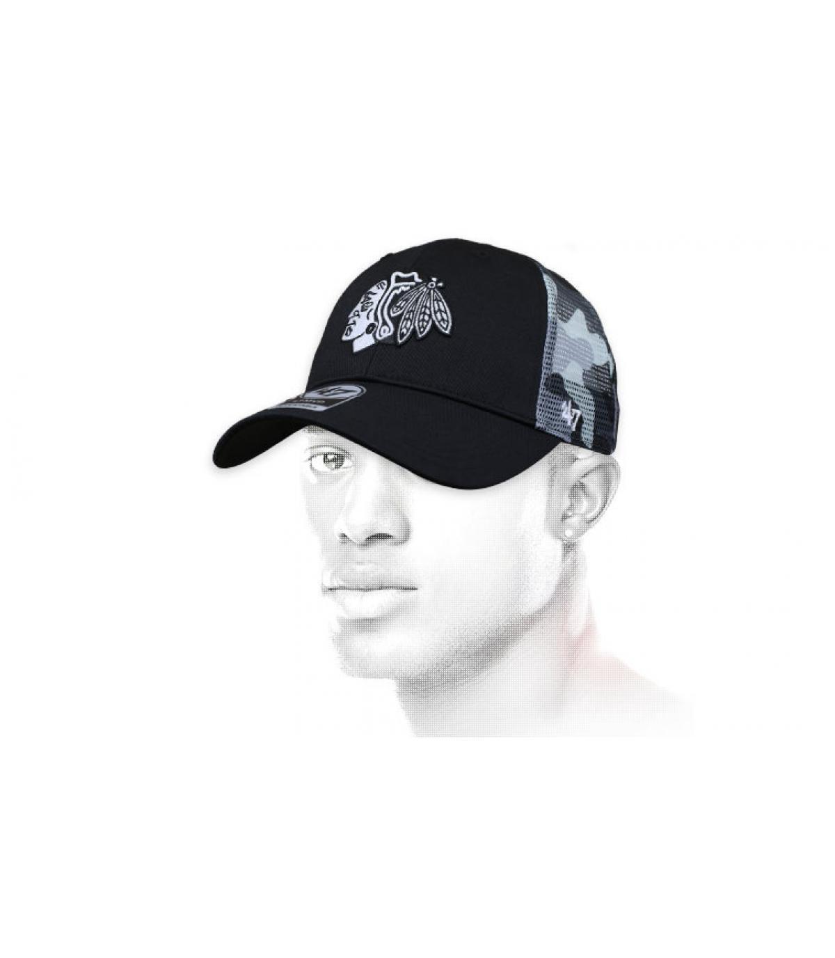 Cappellino mimetico nero Blackhawks