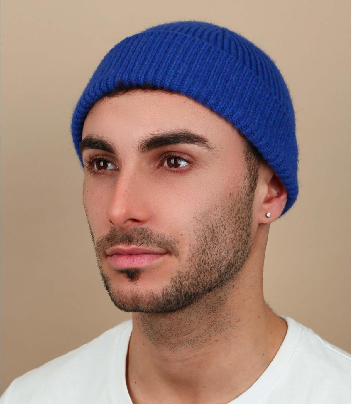 Cappello docker blu in lana d'angora