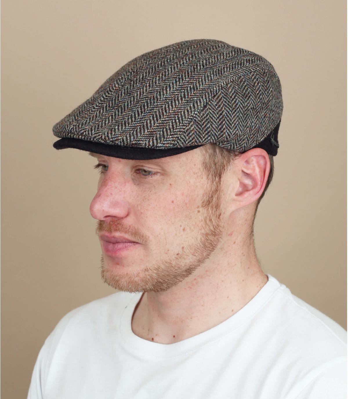 berretto di lana marrone chevron