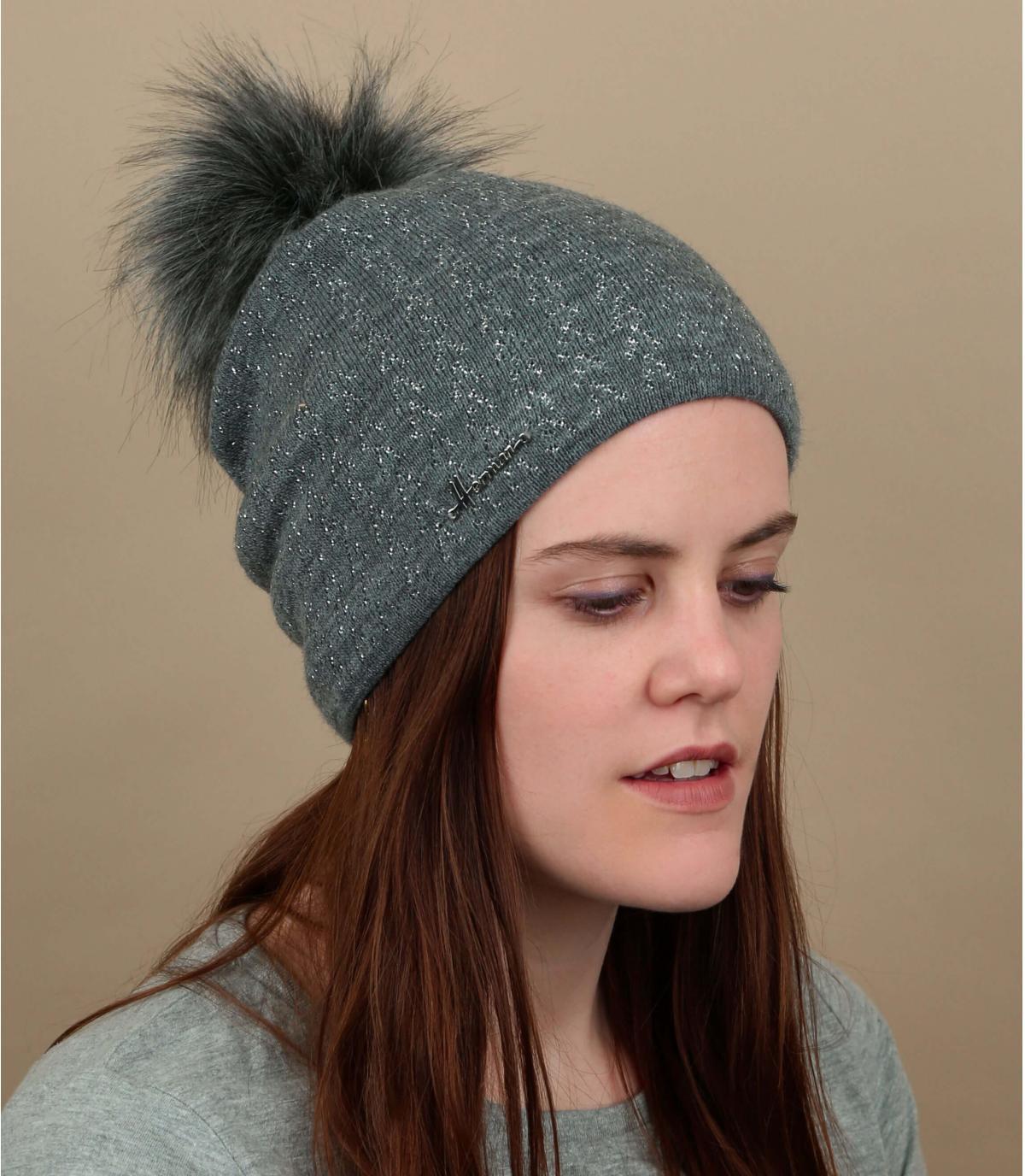 cappello pompon grigio scintillante