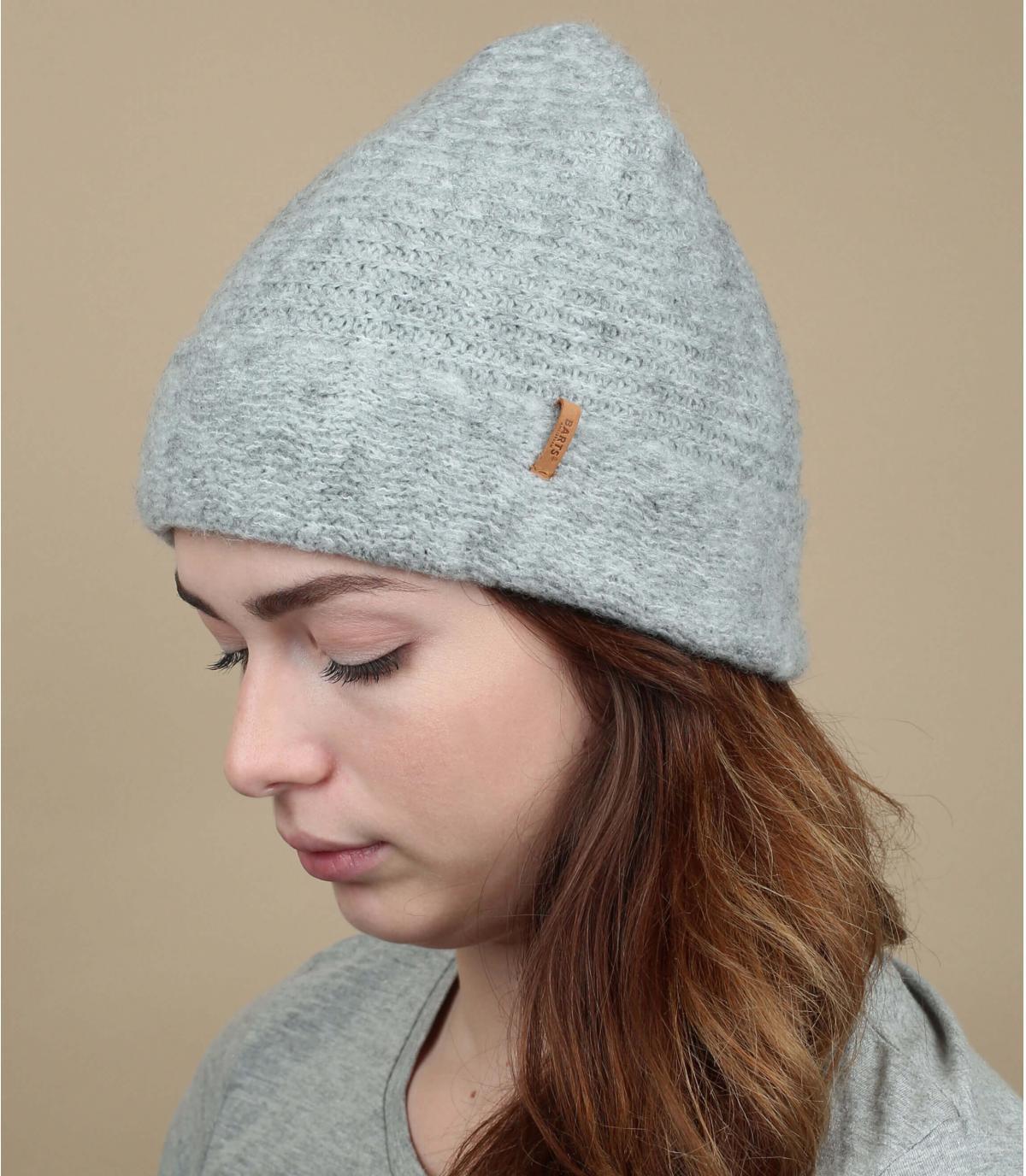 cappello a cuffia grigio screziato