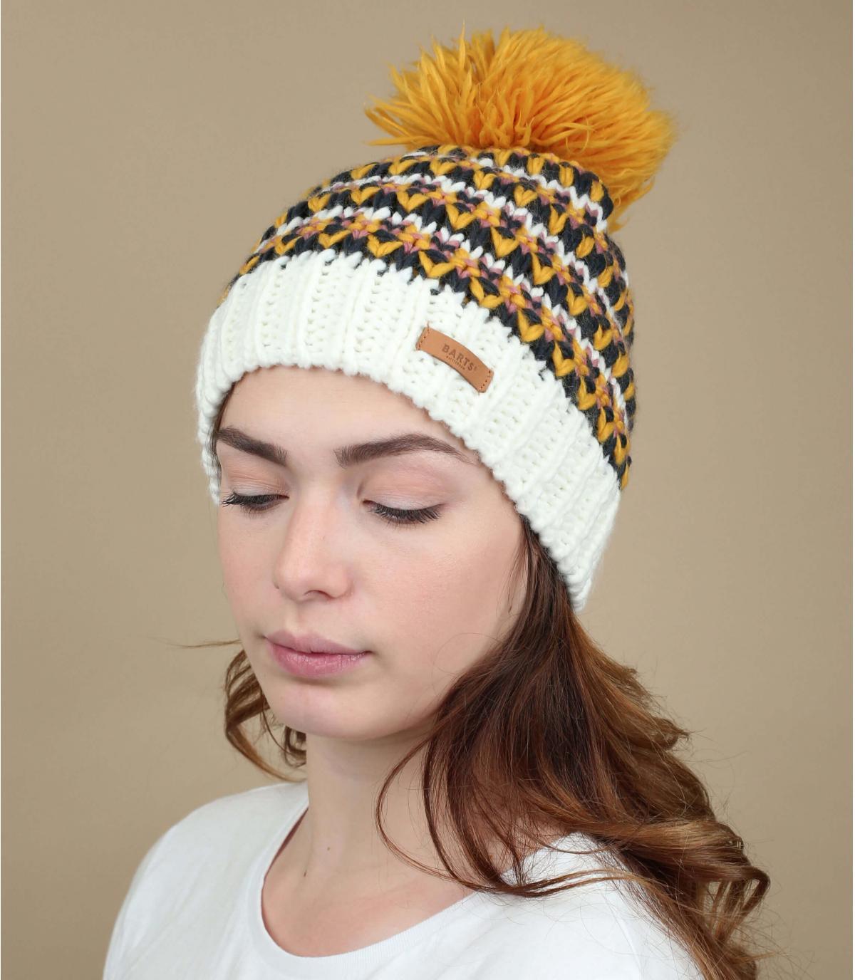 Cappello pompon giallo