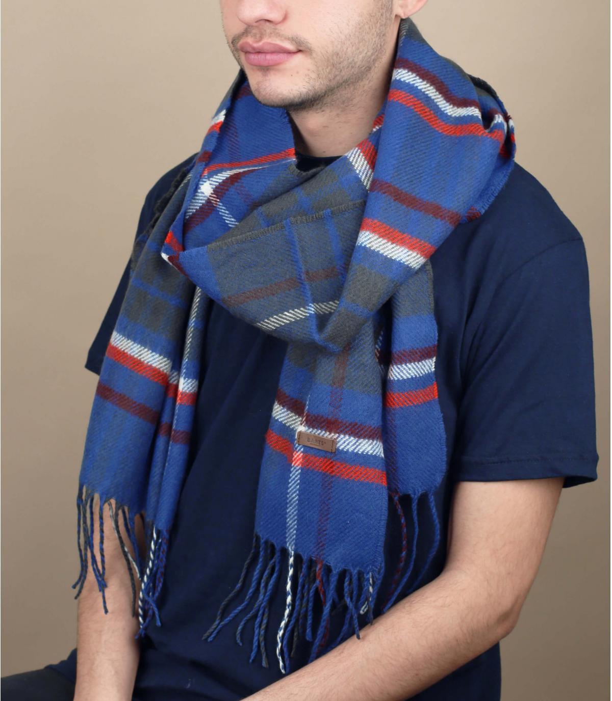 sciarpa blu con frange