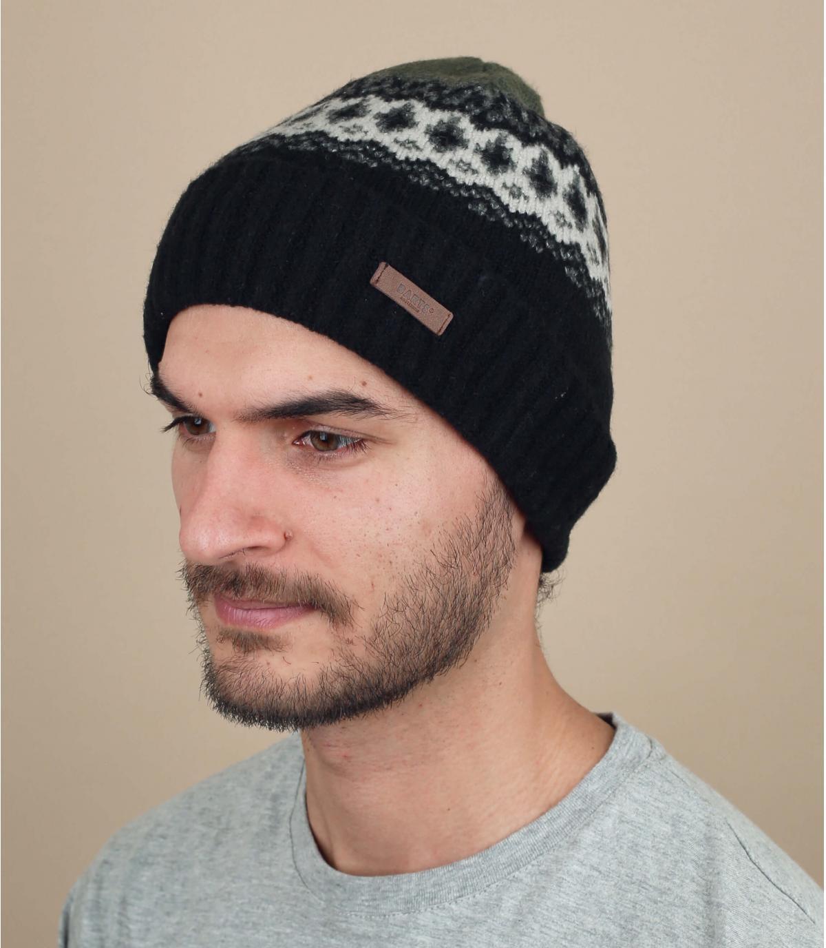berretto nero con motivo a righe