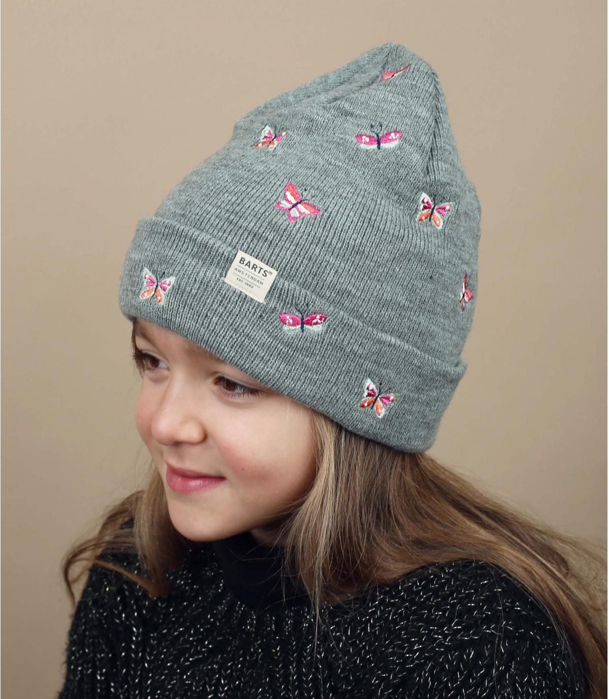 cappello per bambini farfalle grigie