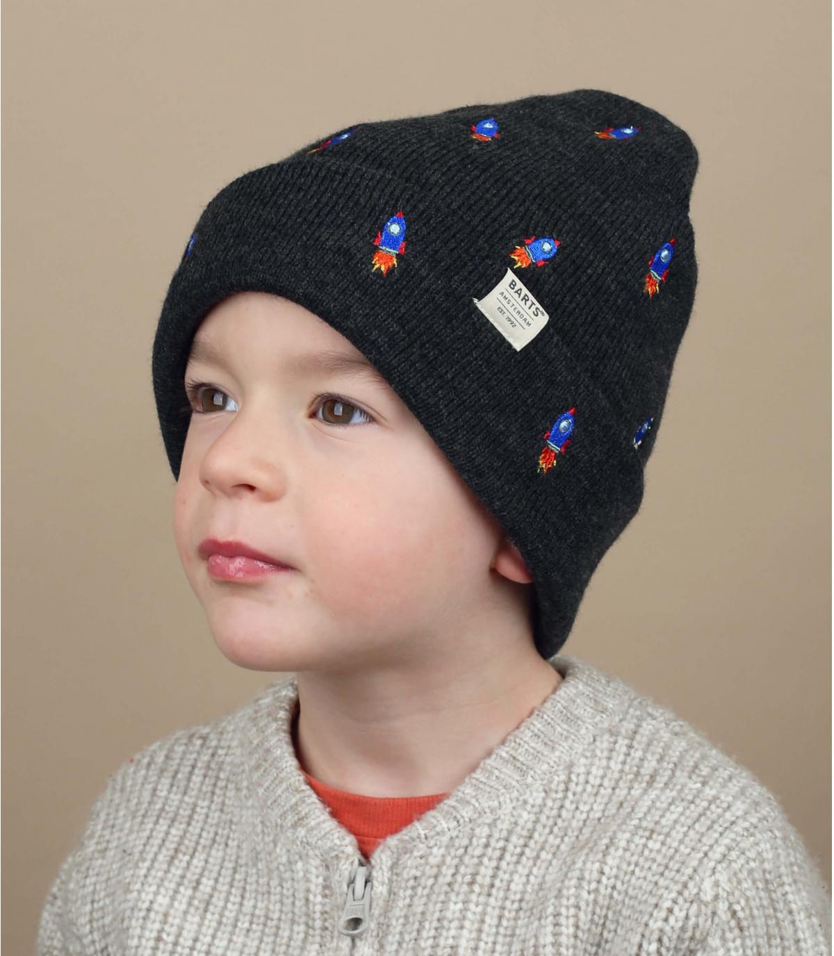 cappello da bambino nero ricamato