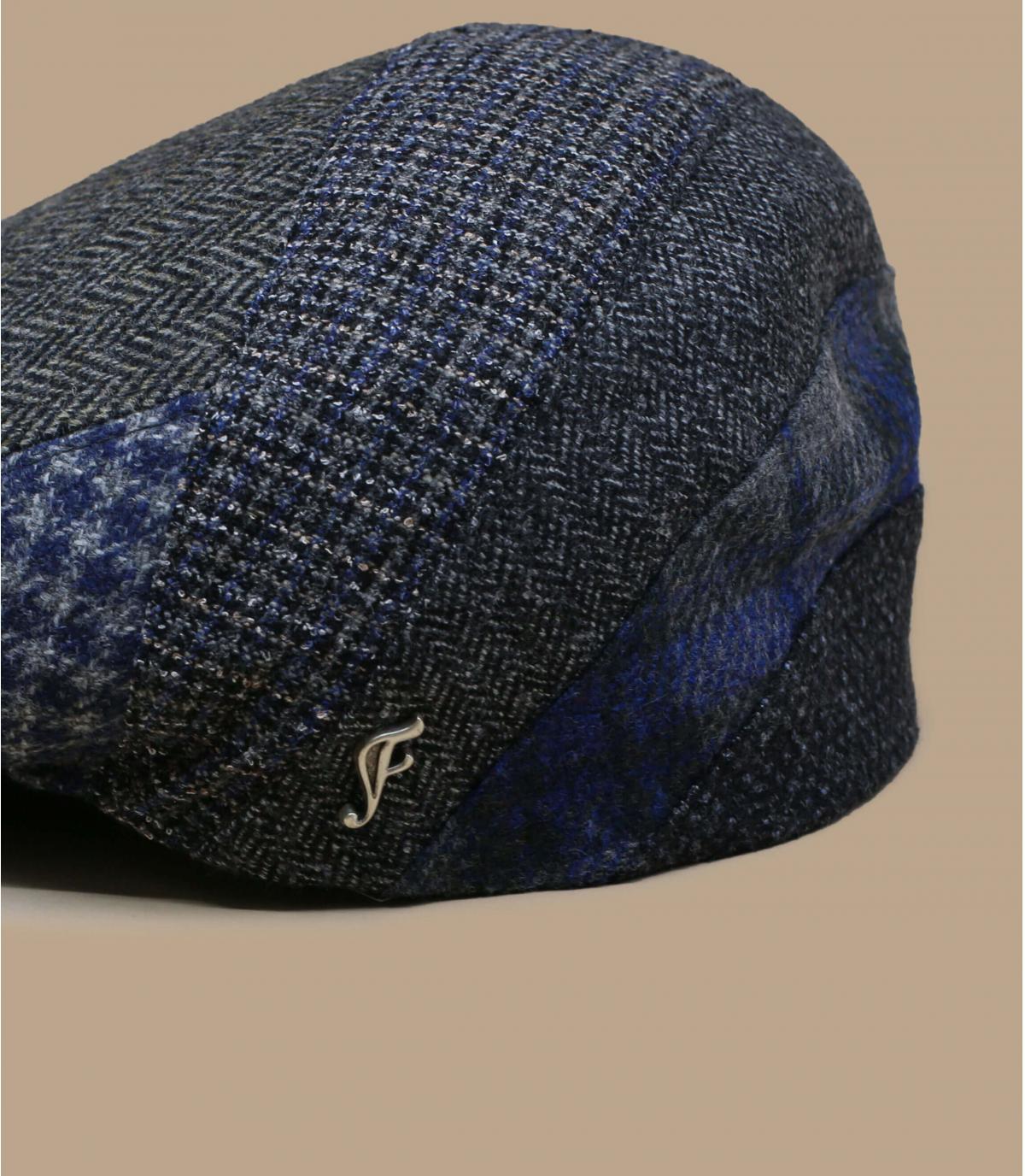 berretto a spina di pesce in lana grigia