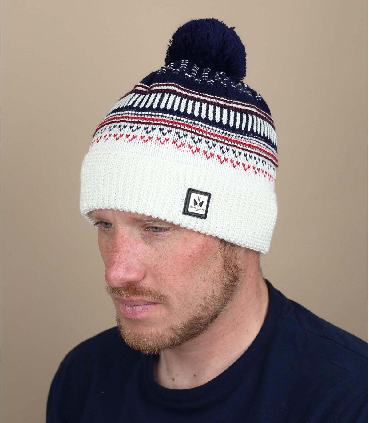cappello con pompon blu bianco