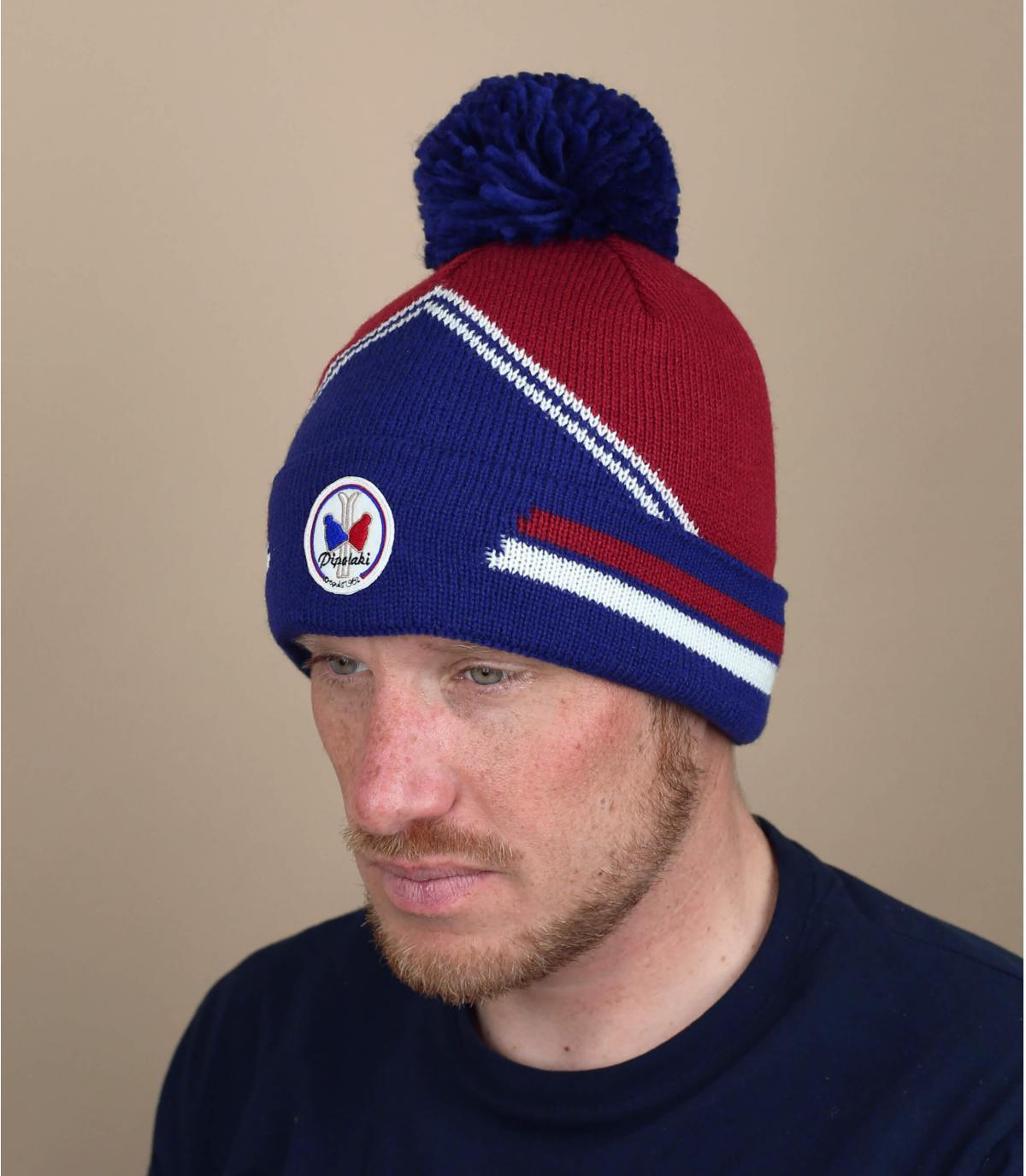 cappello da sci blu bordeaux