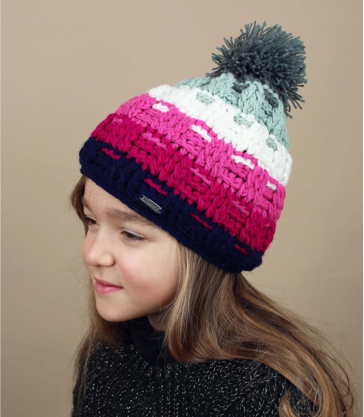 cappello rosa con pompon per bambini