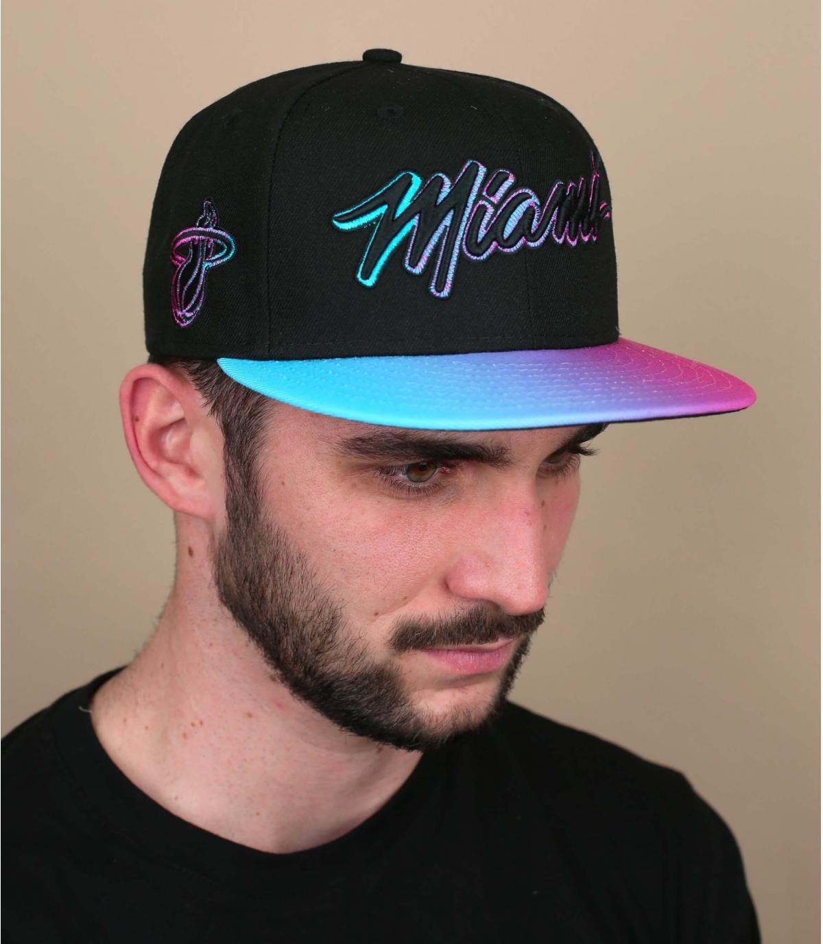Cappellino Miami rosa nero