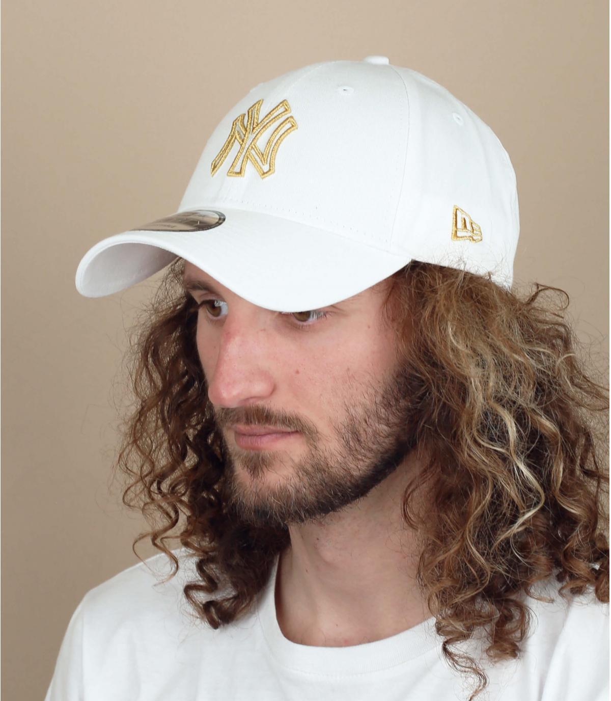 berretto NY bianco argento
