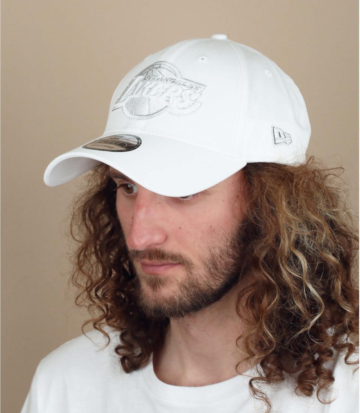 Cappellino dei Lakers bianco argento