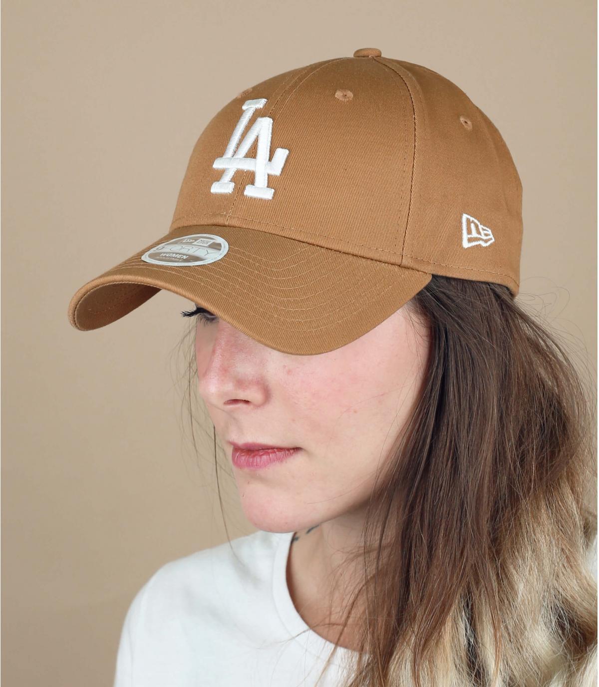 cappellino LA da donna beige