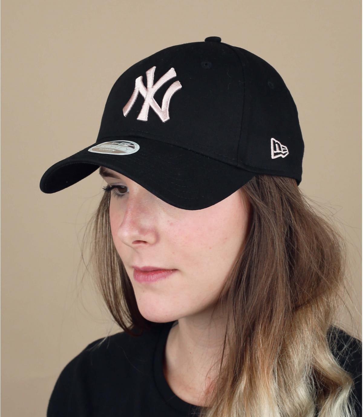 berretto NY donna nero rosa