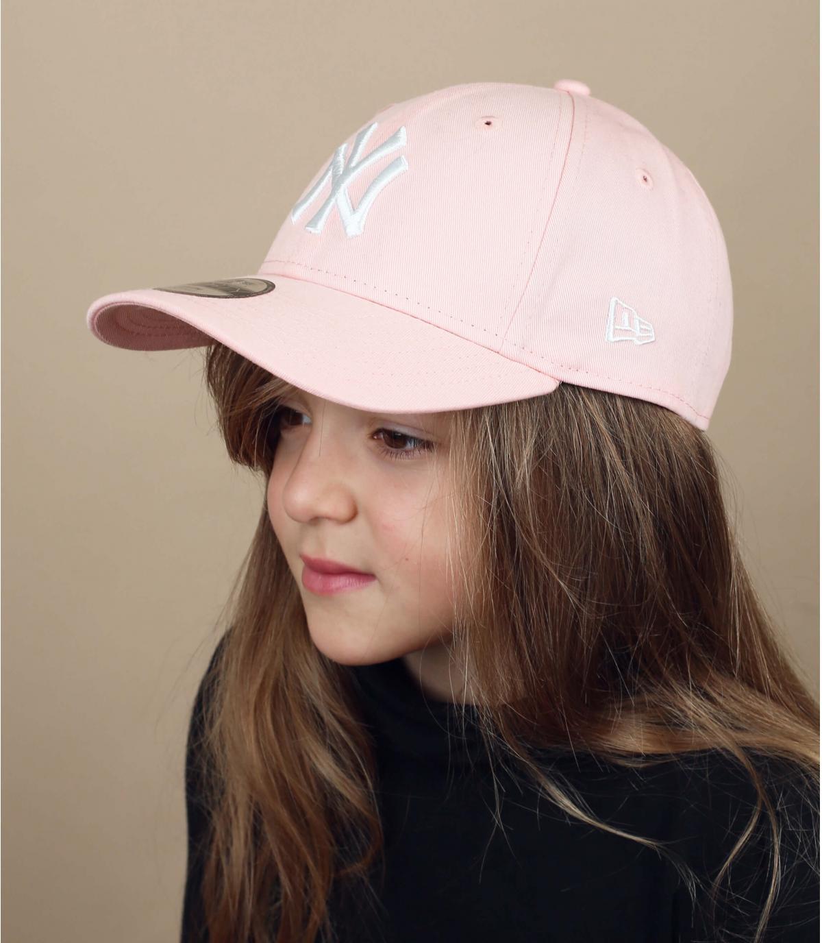 cappellino bambino rosa NY