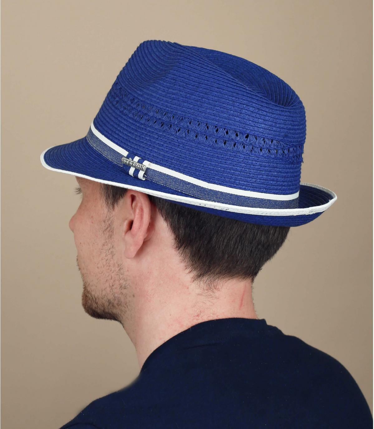 trilby paglia blu Stetson