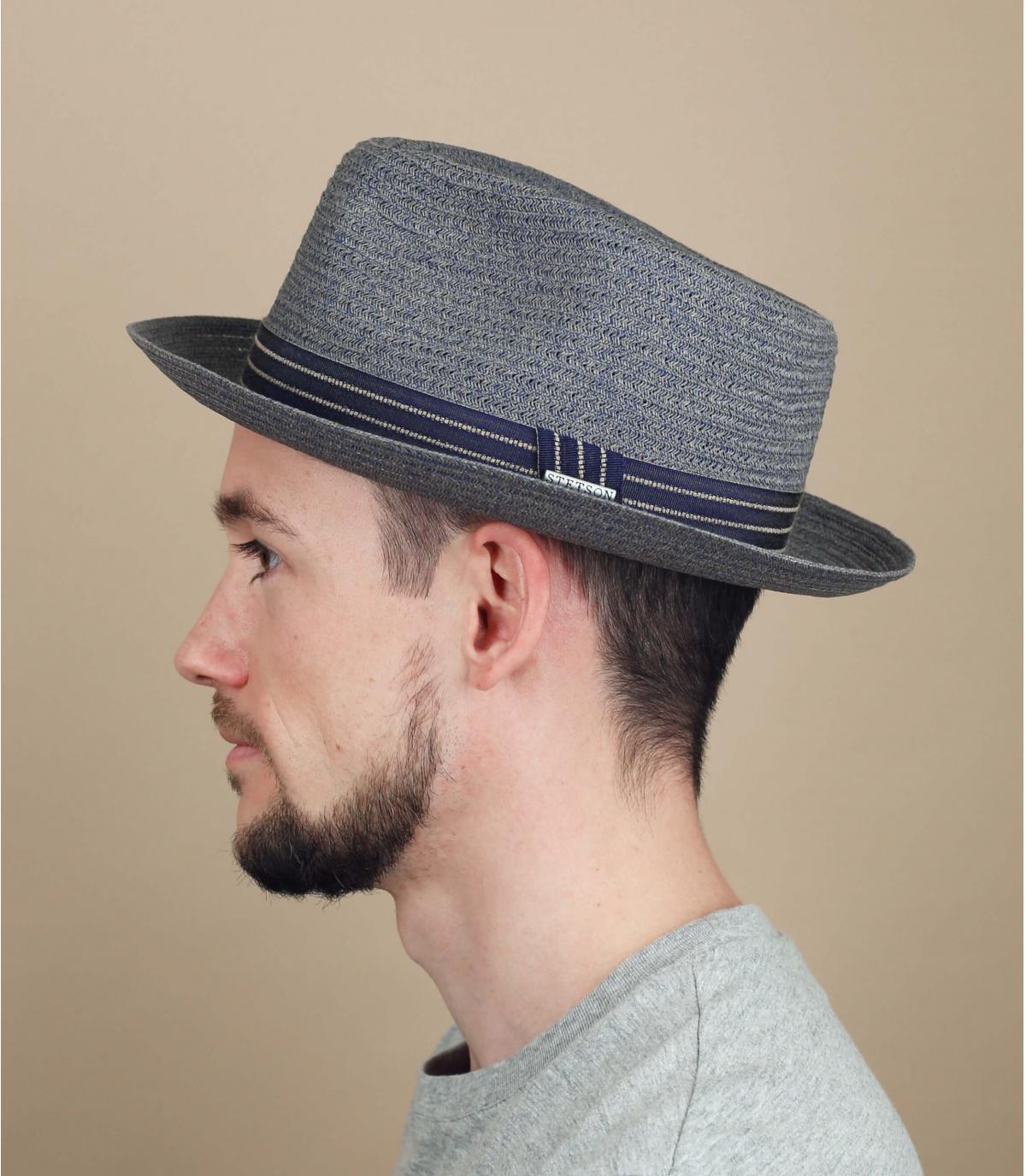 cappello di paglia blu grigio