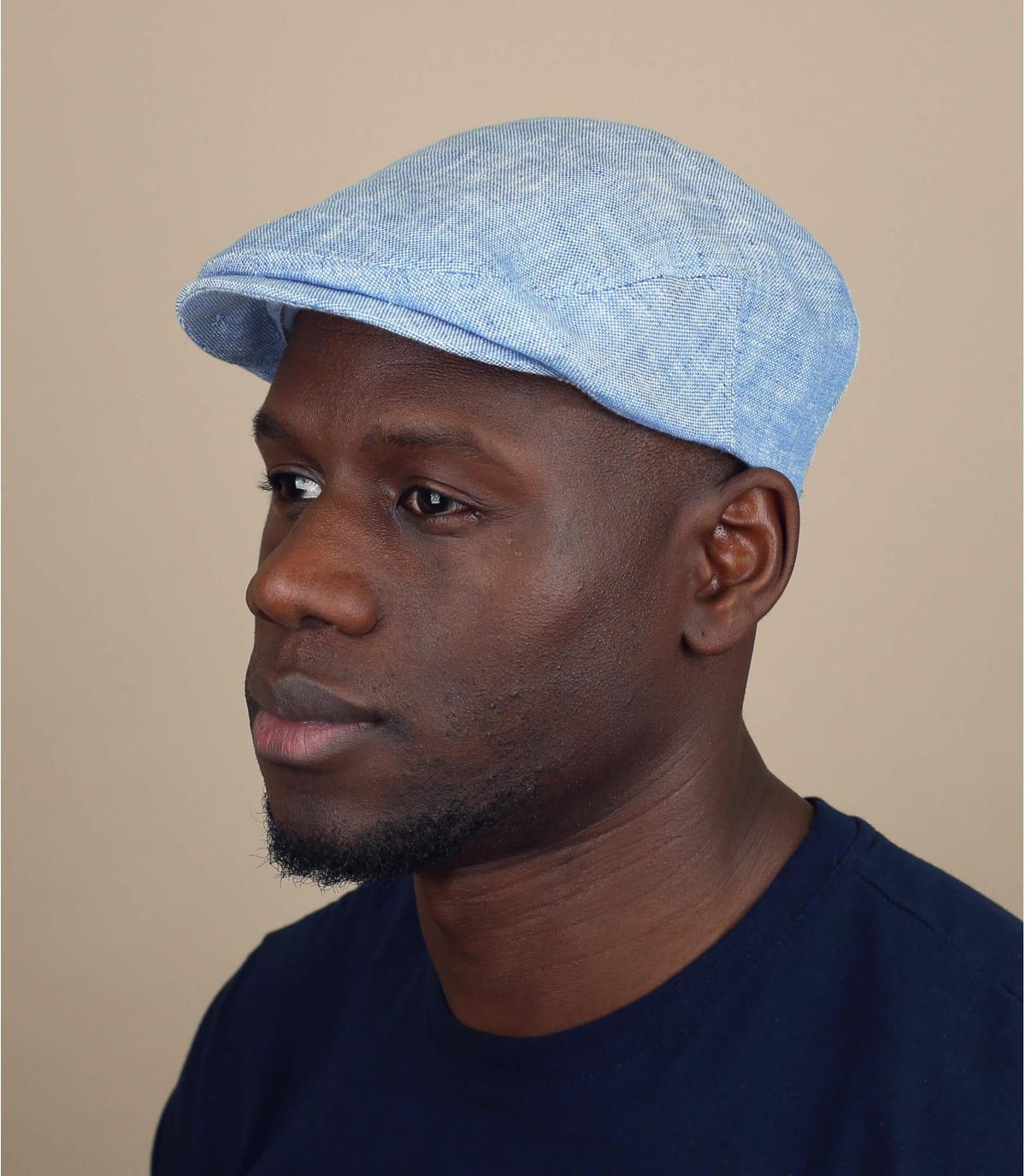 berretto blu cielo lino