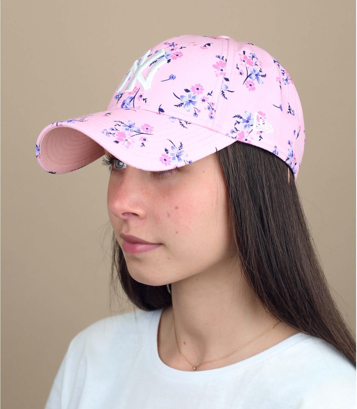 cappellino rosa donna a fiori