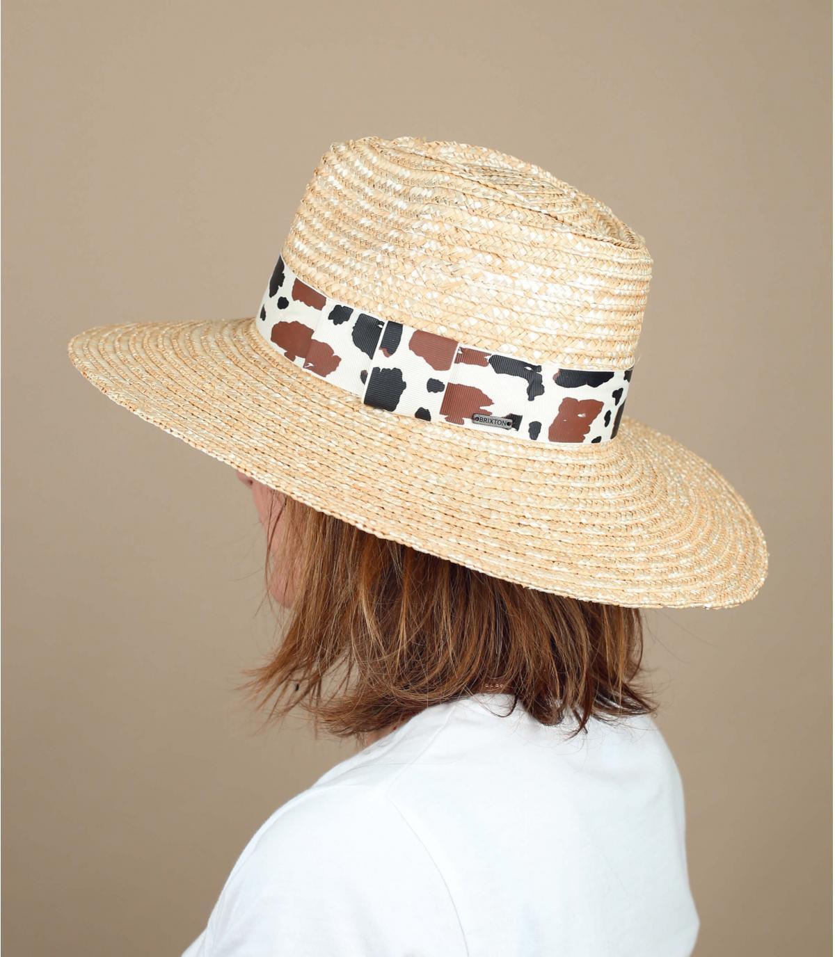 cappello paglia motivo mucca