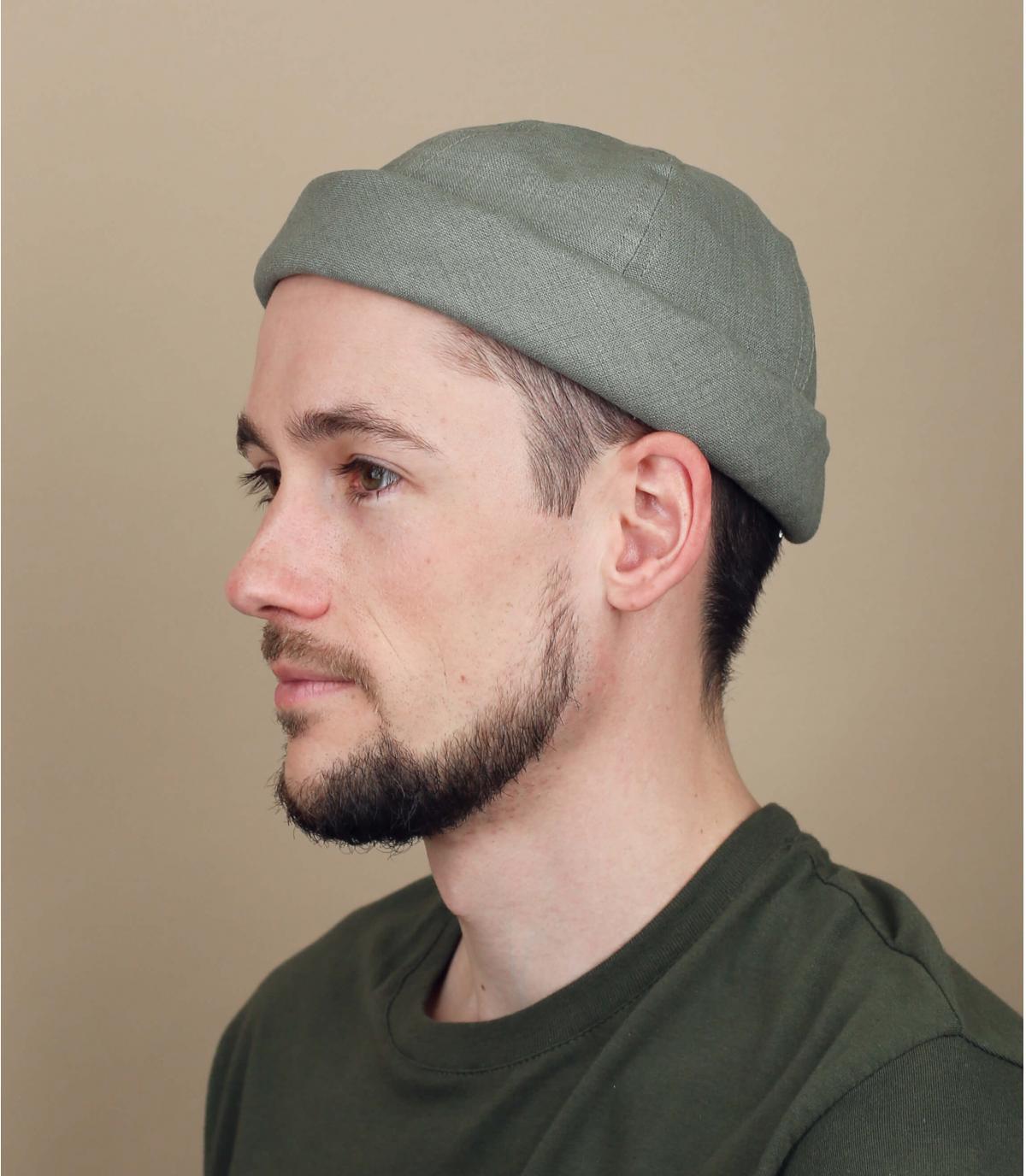 cappello docker lino verde