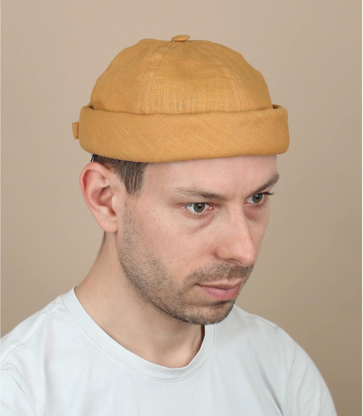 cappello docker lino senape