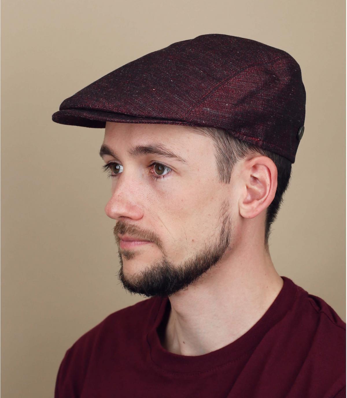 berretto lino bordeaux