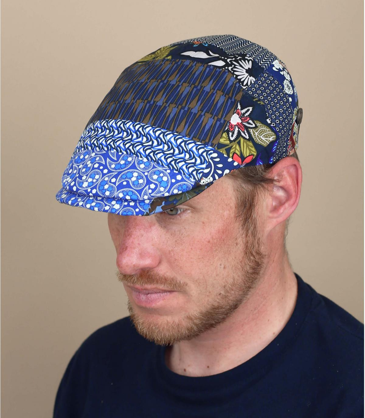 berretto lino patchwork blu