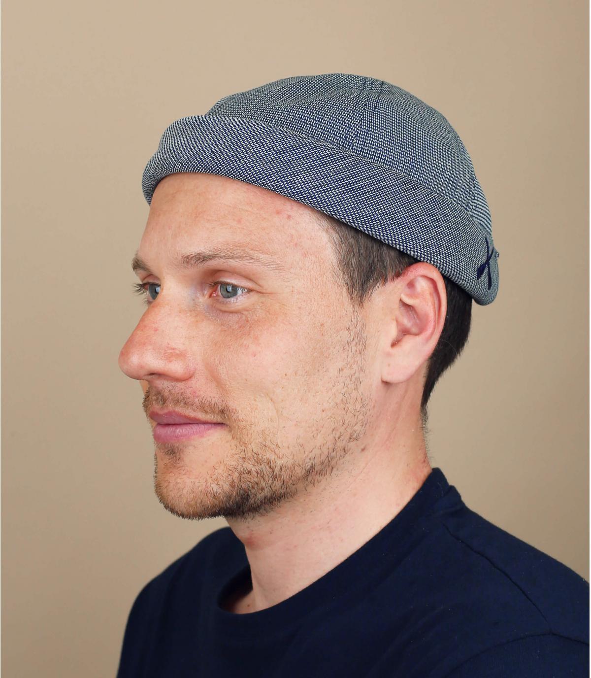 cappello docker blu pelle