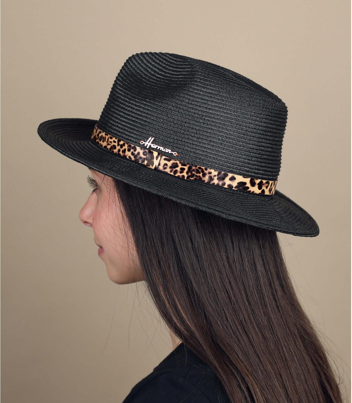 cappello paglia nero maculato