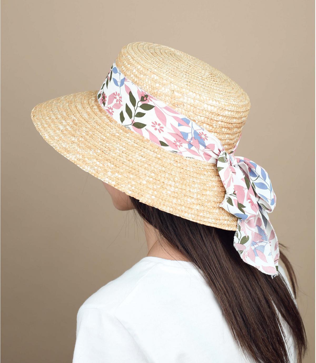cappello paglia foulard rosa