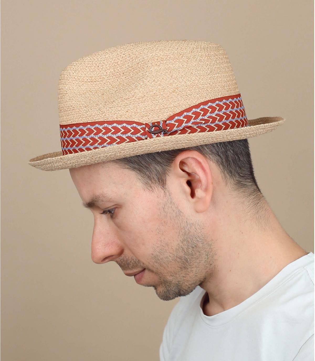cappello paglia nastro a spina di pesce