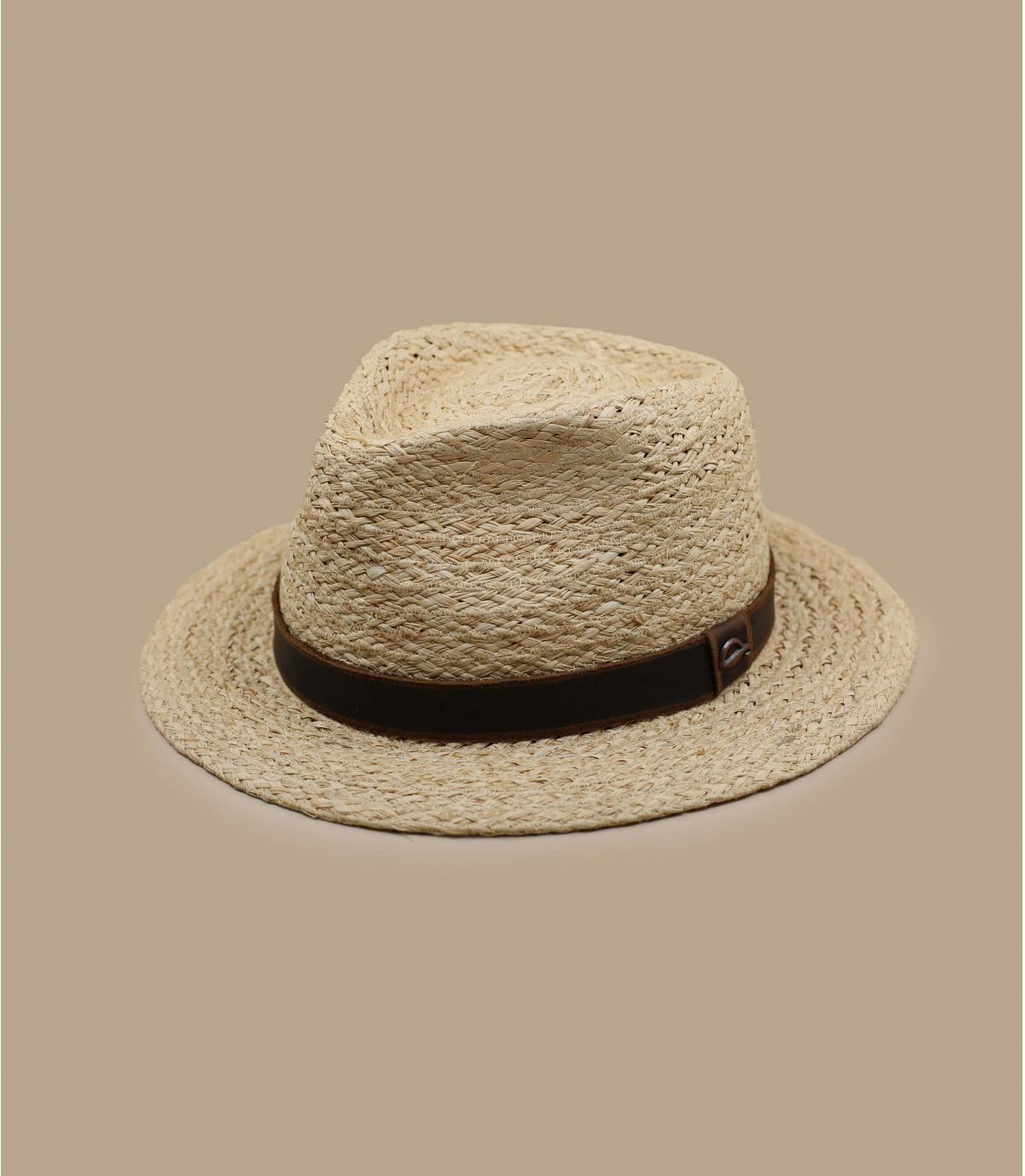 cappello rafia nastro cuoio