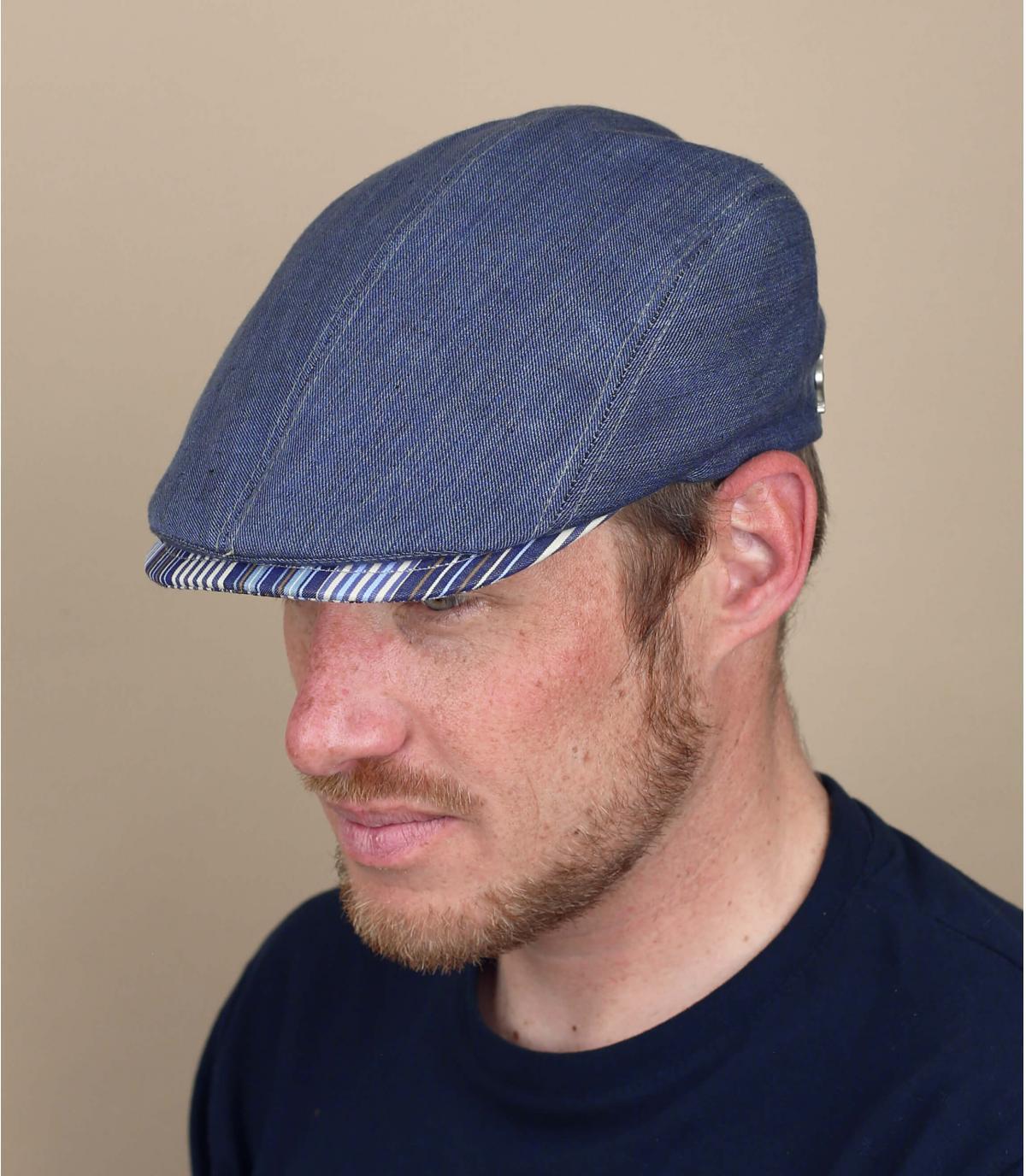 berretto blu lino
