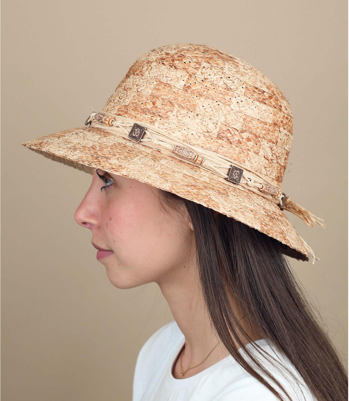 cappello cloche paglia perle