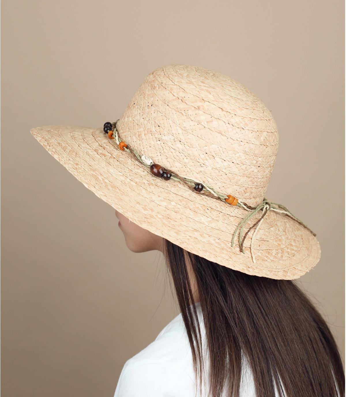 cappello paglia perle