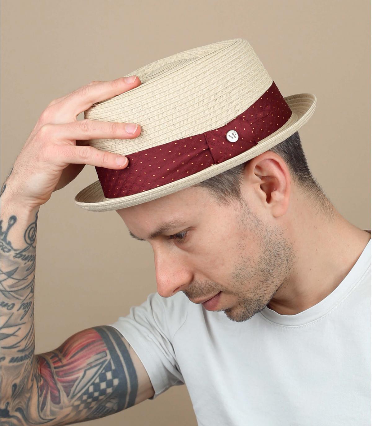 cappello paglia passamano a pois rosso