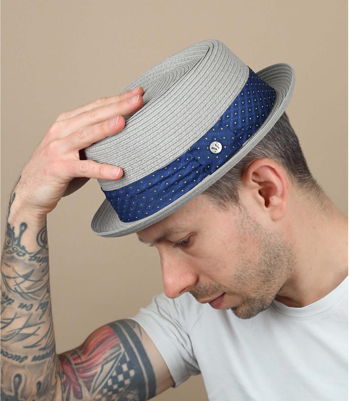 cappello paglia grigio passamano blu