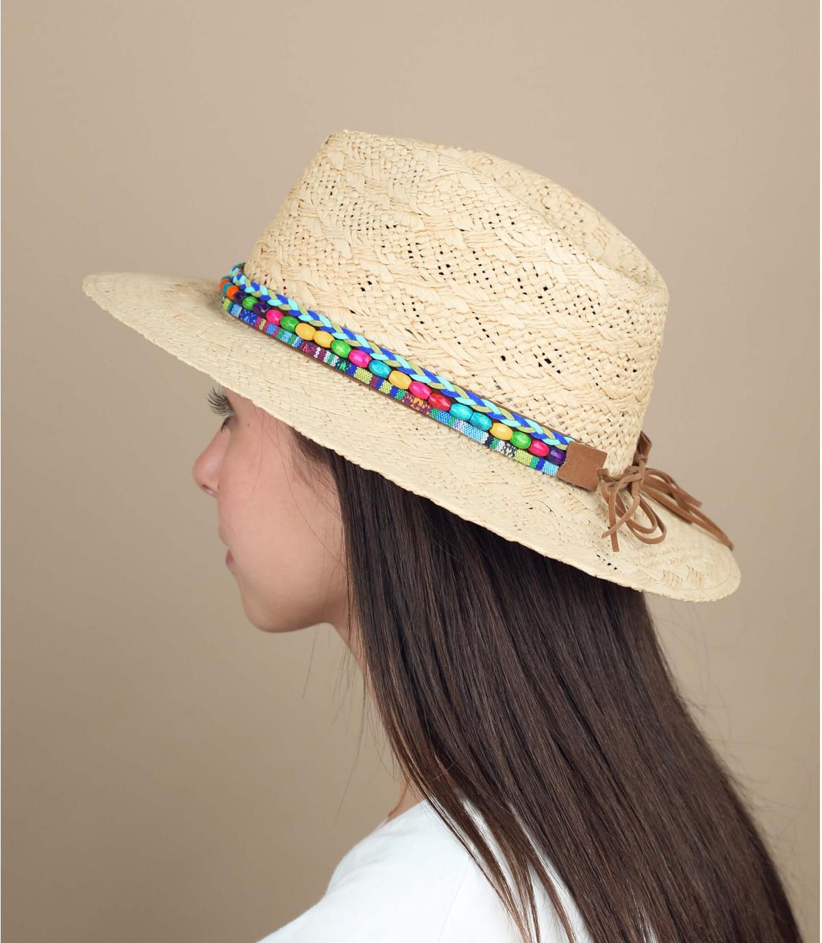 cappello paglia perle colorate