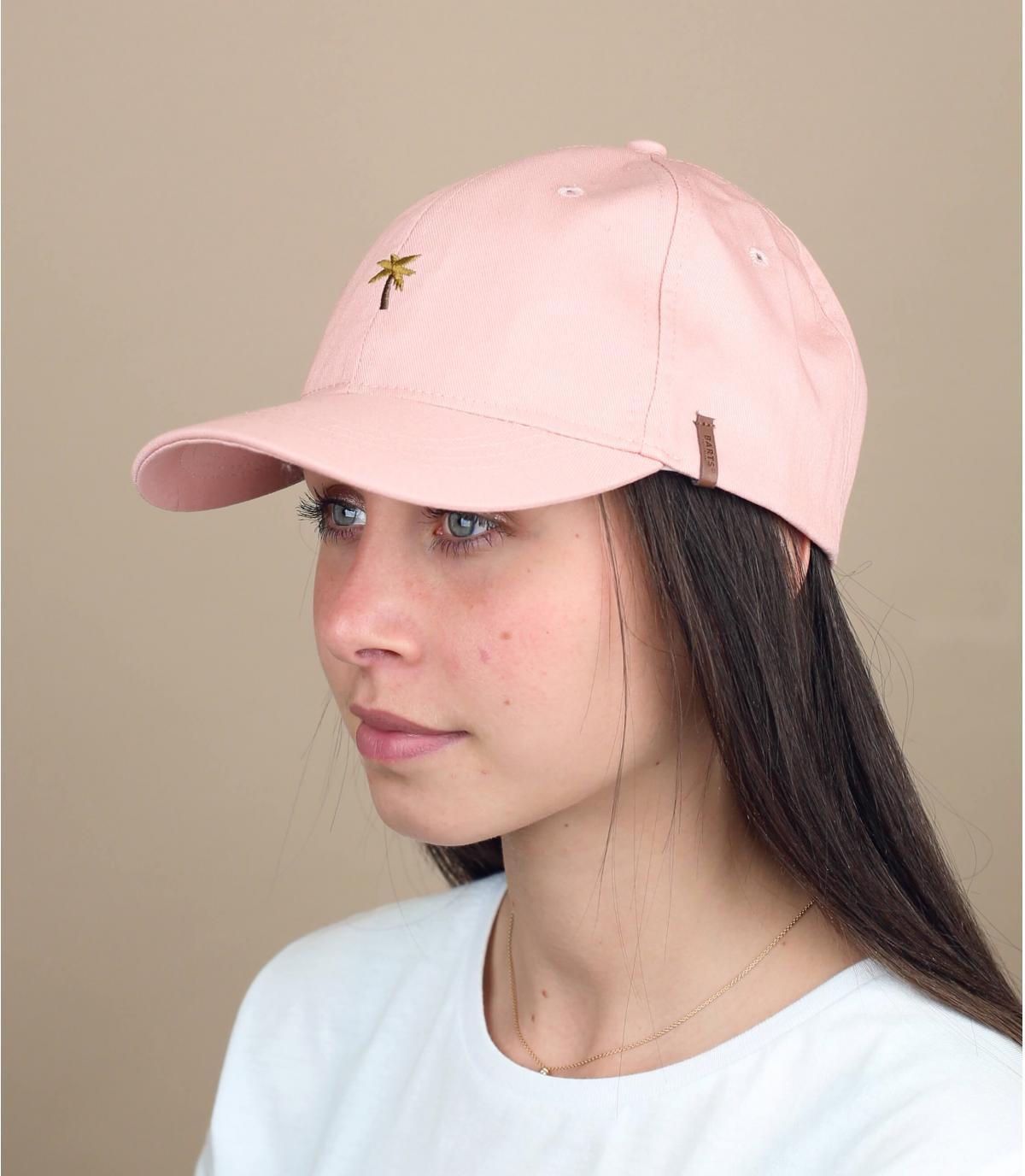 cappellino rosa ricamo palma