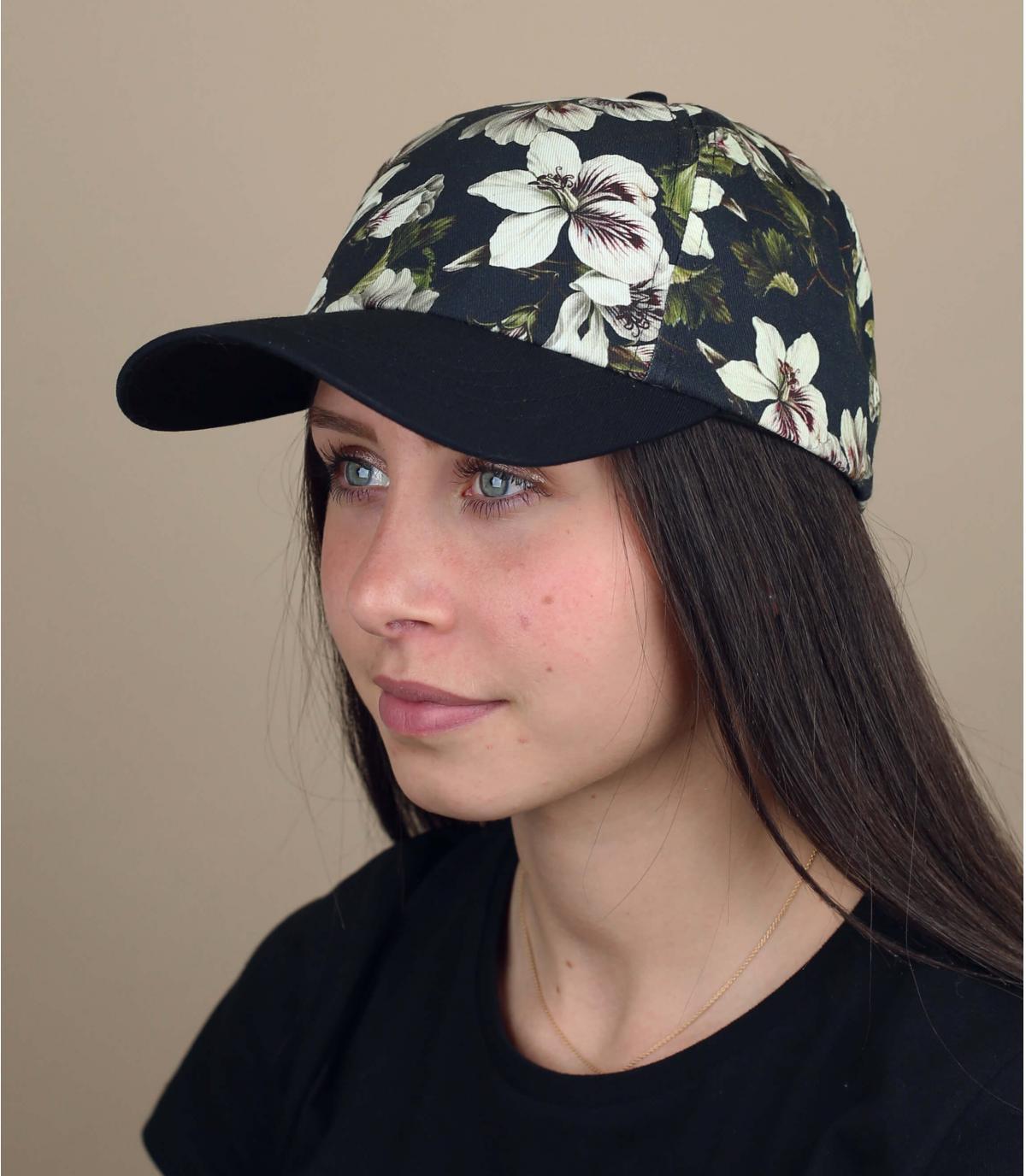 cappellino fiori nero