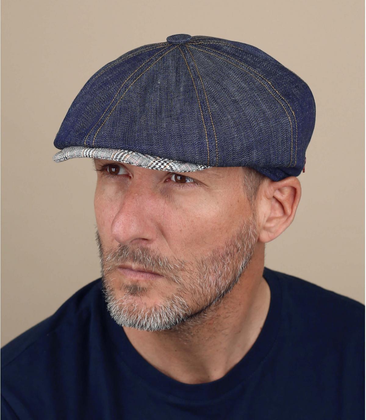 Cappello alla gavroche in lino blu