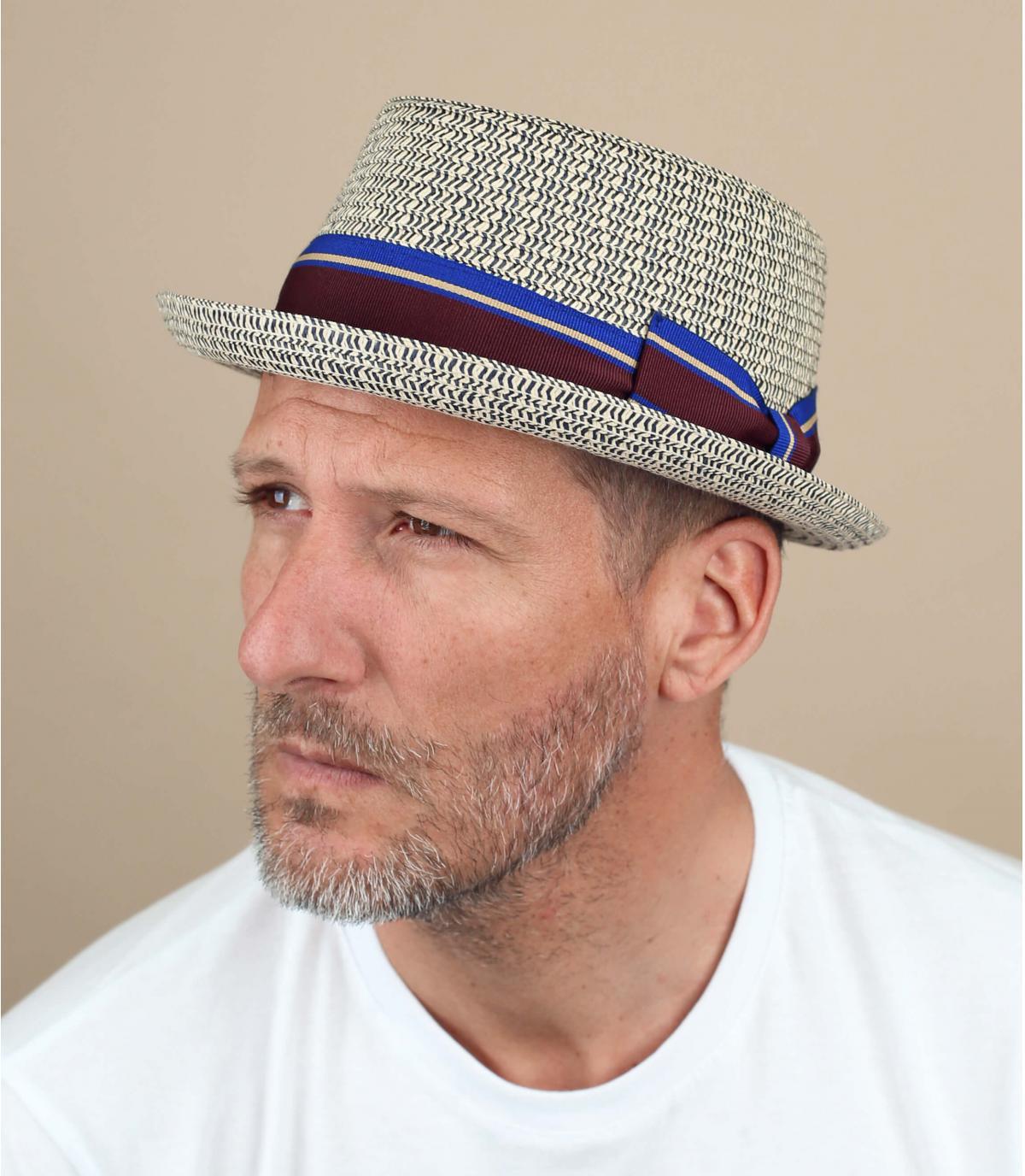 cappello paglia blu