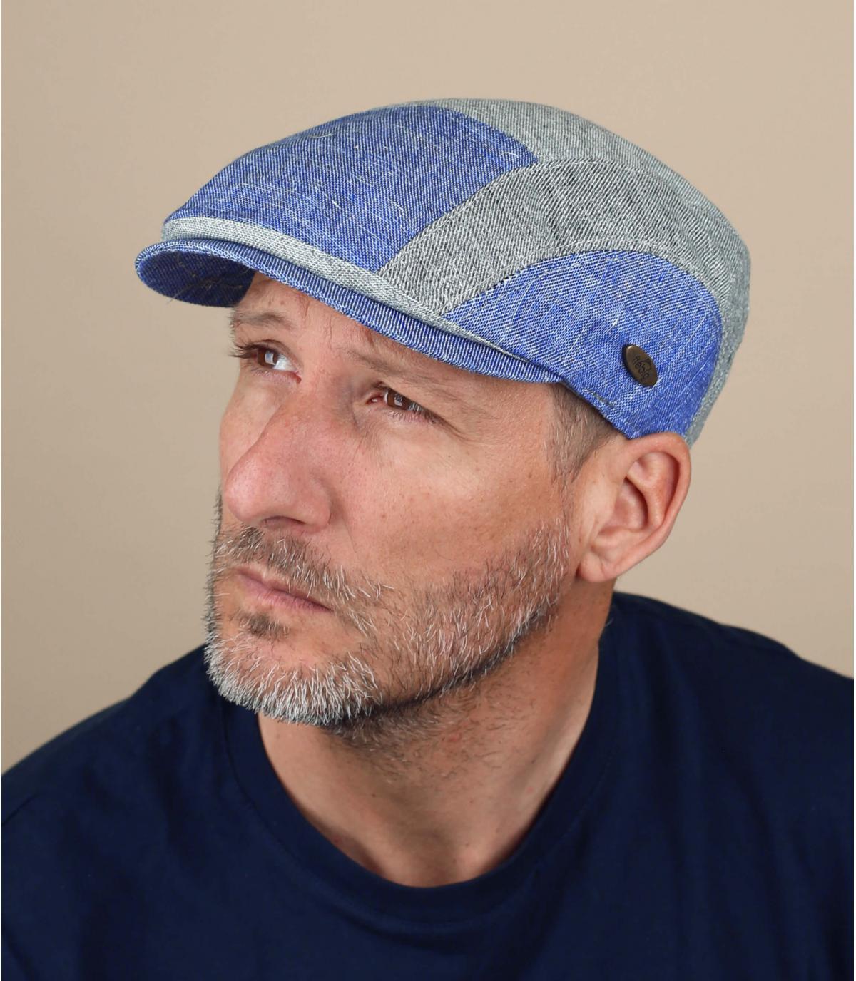 berretto patchwork blu grigio