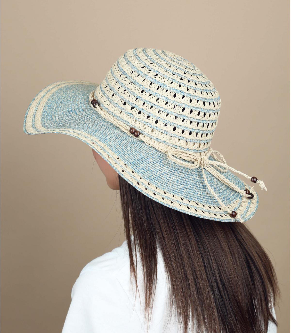 cappellino bicolore beige e blu